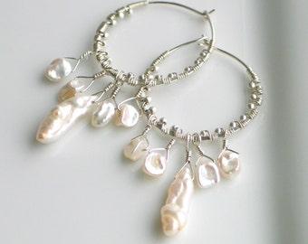 White Keishi Pearls on Silver Beaded Hoop Earrings, Wedding Earrings, Natural Pearl Dangles, Deluxe Gift for Her, Designer Pearl Earrings