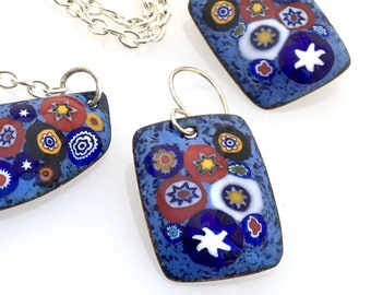 Copper Enameled Original Bar Pendant and Earrings Set, Pioneer Patchwork Inspired Summery Design, Blue Red & White, Art Jewelry by WillOaks