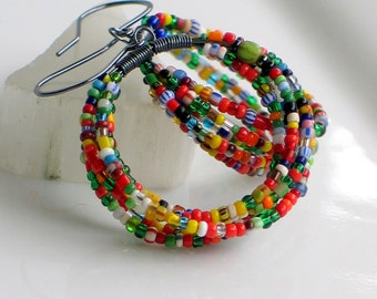 Hoop Earrings with Brightly Colored Antique Trade Beads, Big Dangle Hoops, Multi Colored Earrings, Original Gift for Her