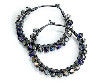 Dark Crystal Hoops, Handmade Beaded Petite Earrings in Dark Gray Swarovski Crystals, Sparkling Hoop Earrings, Gift for Her, Fashion Bling
