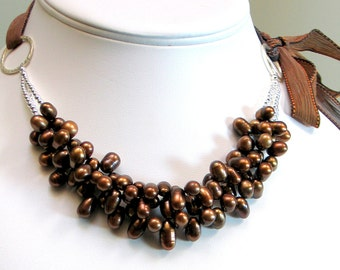 Chocolate Brown Pearl Bib Statement Necklace, Deluxe Fashion Pearl Cluster Necklace, Multistrand Bib on Silk Ribbon, Designer Gift