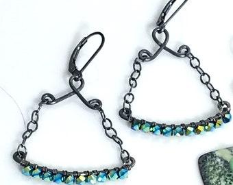 Beaded Crystal Dangles, Artisan Hippie Earrings, Handmade Original Design, Sterling Metalwork Earrings, Teal Crystals, Gift for Her
