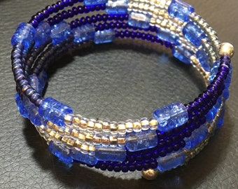 Blue Crackle Glass Beads & Other Blue and Silver Beads Five Wrap Bracelet, Steel Coil Memory Cuff, Easy On and Easy Off, WillOaks Studio