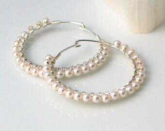 Pearl Sterling Hoop Earrings, Crystal Pearls on Wrapped Silver Hoops, Dainty White Hoop Earrings, June Birthday, Bridal Earrings, Wedding