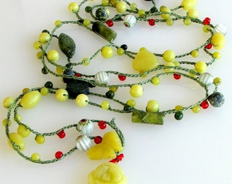 Beaded Long Chain, Jade and Green Silk, Crocheted Silk with Millefiori Olive Jade and Red Beads, Wrap Cuff, Layered Necklace