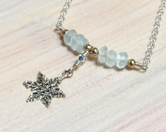 Aquamarine Bar Necklace, Snowflake Pendant, Sterling Silver & Natural Birthstones, Pale Blue Delicate Jewelry, March Birthday Gift for Her