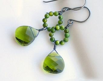 Moss Green Dangle Earrings, Olivine Swarovski Crystals, Original Green Earrings, Mother of Pearl Hoop Earrings, Artisan Made Nature Fashion