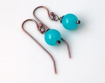 Tiny Teal Stone Dangle Earrings, Drop Earrings, Blue Quartz on Copper Ear wires, Artisan Copper Wire Work Dangle Earrings