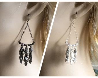 Long Leaf Chandelier Earrings, Boho Nature Inspired Dangles, Artisan Handmade Crystal Leafy Earrings, Swingy Statement Earrings, Gifts