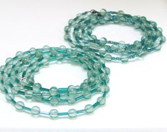 Beautiful Blue Green Glass Beaded Necklaces, Vintage Seed Beads and Recycled Glass Beads, Long Necklace or Wrap Cuff, Summer Layering Chain