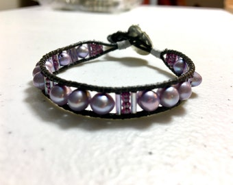 Lavender Pearl Cuff, Pearl and Leather Wrap Bracelet, Pearls and Leather, Original WillOaks Studio Artisan Jewelry, Wearable Art