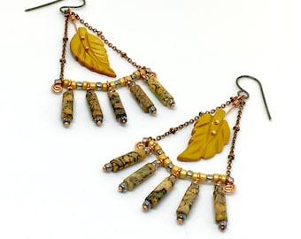 Boho Statement Chandelier Earrings, Gray & Golden Yellow Dangles, Natural Jasper and Mother of Pearl Nature Earrings, Handmade Gift for Her