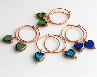 Heart Hoop Earrings for Valentines Day Gifting, 4 Pairs of Handmade Czech Glass Heart Dangles, Original Gifts for All the Ladies & Girls