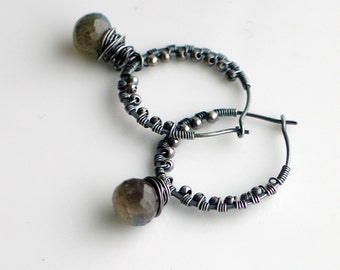 Labradorite Silver Hoop Earrings, Teardrop Gemstone Dangles, Handmade Textured Sterling Hoops, Deluxe Artisan Gift for Her, Original Design