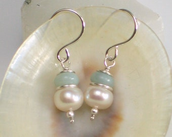 Small Pearl & Amazonite Drop Earrings, White Freshwater Pearl and Natural Aqua Stone Earrings, Pastel Gemstone Earrings, Gift for Her, June
