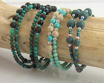 Essential Oil Turquoise and Teal Lava Stone Bracelets for Essential Oils, Beaded Memory Wire Bracelets