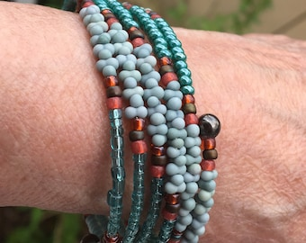 Teal & Turquoise Glass Bead Wrap Cuff, Mix of Green-Blues, Boho Style Texture Color, Steel Coil Memory Bracelet, Easy On Off, WillOaksStudio