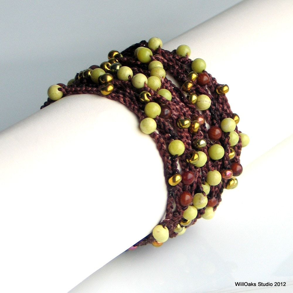 Crocheted Silk Beaded Bracelet Jewelry, Hand Dyed Silk Cuff with ...