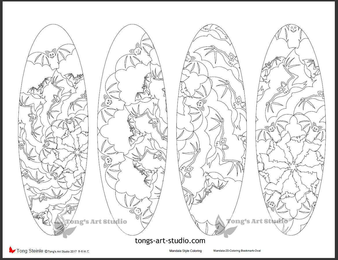 4 Printable Mandala Coloring Bookmarks 020-Oval