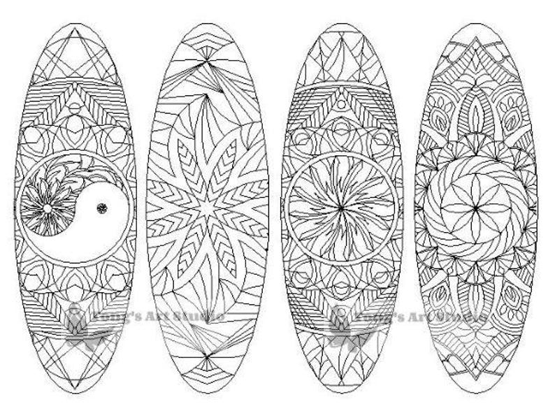 4 Printable Mandala Coloring Bookmarks 001-Oval ShapeInstant | Etsy
