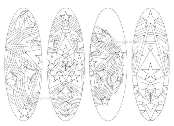 4 printable mandala coloring bookmarks 017 oval shapeinstant etsy etsy