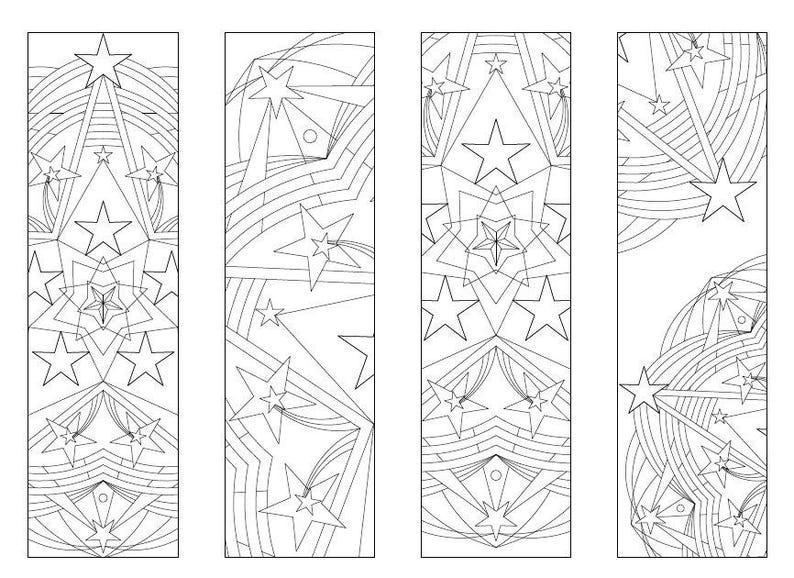 4 Printable Mandala Coloring Bookmarks 017-01Instant | Etsy