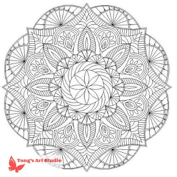 Printable Mandala Coloring 011 Instant Download Printable Etsy
