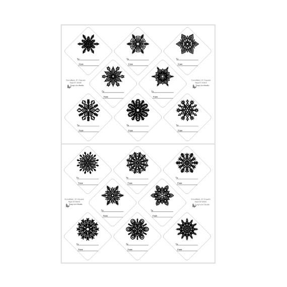 16 snowflake gift tags black white gift tags christmas gift etsy