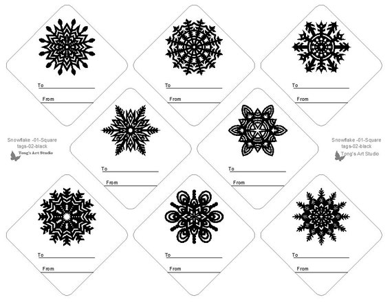 photograph relating to Printable Christmas Tags Black and White referred to as 8 Snowflake Present Tags, Black-White Present Tags, Xmas Reward Tags, Printable present tags, Black White Snowflake Sq.-02