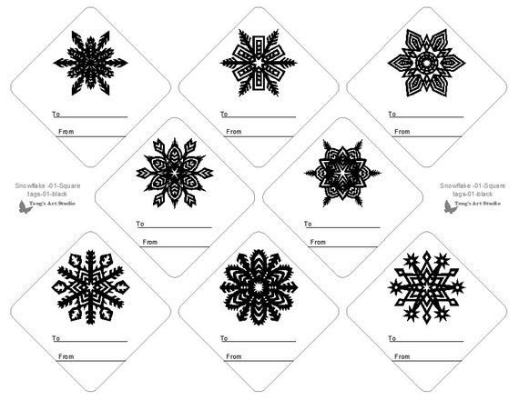 8 snowflake printable gift tags black white gift tags etsy