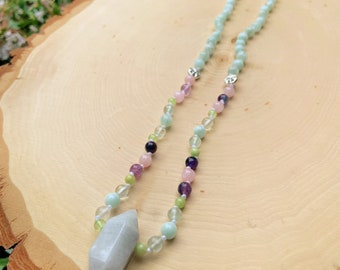 Aquamarine, Green Moonstone, Rose Quartz, Green Calcite and Fluorite Beaded Jewelry - Handmade Necklace - Hand Knotted Necklace - Moon Magic