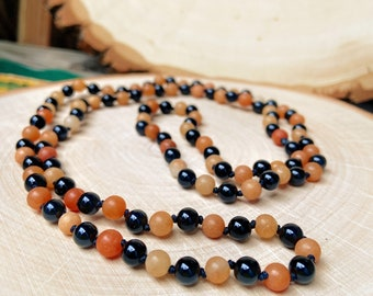 Red Aventurine and Onyx Beaded Necklace - Hand Knotted Jewelry - 36.25 Inches Around - Metaphysical, Spiritual, Goth, Wiccan, Occult