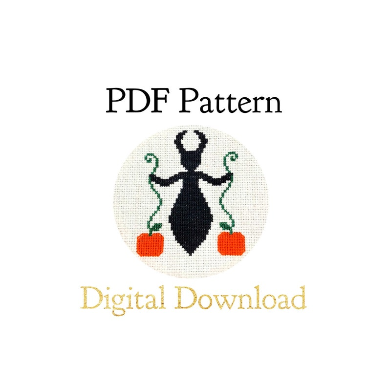 PATTERN ONLY  Horned Pumpkin Goddess/Spirit Cross Stitch image 0