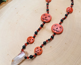 Lepidocrocite in Quartz, Onyx, Pumpkin Charm and Glass Beaded Jewelry - Hand Knotted Necklace - Fish Hook Clasp - Halloween, Spooky Season