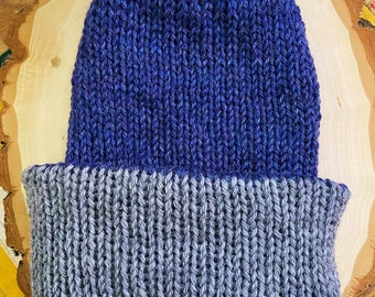 Wool of the Andes Superwash Reversible Knit Hat in Gray and Blue - Wear Double Brimmed or Slouchy - Adult Size Small to Medium