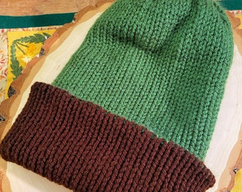 PRE-SOFTENED Chocolate Brown and Leaf Green Reversible Knit Hat - Size Teen to Adult Small Medium - Slouchy, Double Brimmed, Earthy