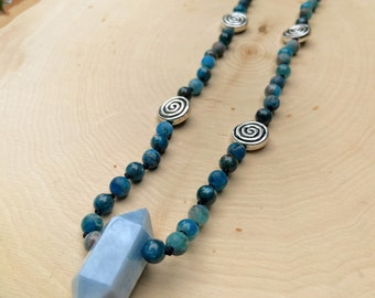 Aquamarine, Apatite and Pewter Spiral Hand Knotted Necklace - Crystal Beaded Jewelry - Matte and Polished Beads - Spiritual, Healing, Magic