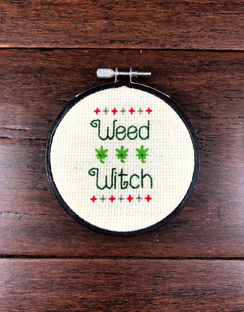 Minimalistic WEED WITCH Cross Stitch  3 Inch Black Hoop  Red image 0