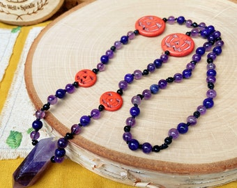 Amethyst, Charoite, Pumpkin and Glass Beaded Necklace - Hand Knotted - Crystal Jewelry - Halloween, Jack O Lantern, Spooky Season, Fall