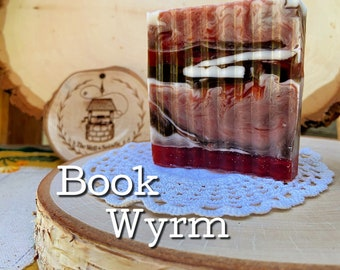 BOOK WYRM - Cruelty Free Olive Oil and Goats Milk Soap - Smells Like Dragons Blood, Leather, Smoke and Old Books - 6.30 Ounce Hand Cut Bar