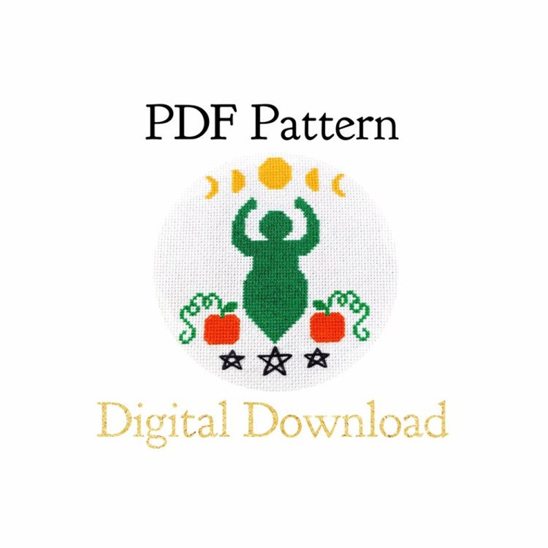 PATTERN ONLY  Plus Size Pumpkin Goddess/Spirit with Moons image 0