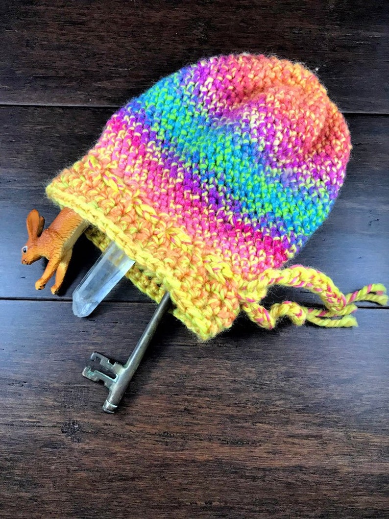 Large Rune/Tarot Round Crocheted Bag With Drawstring  Wool image 0
