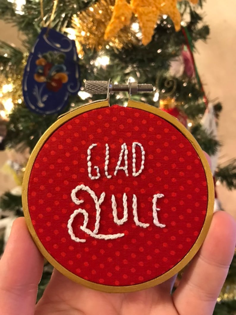 DISCOUNTED  Glad Yule  Hand Stitched Embroidery  3 Inch image 0