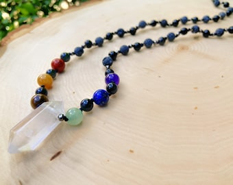 Crystal Rainbow Beaded Necklace - Hand Knotted Jewelry on Black Nylon Cord 26.5 Inches Around