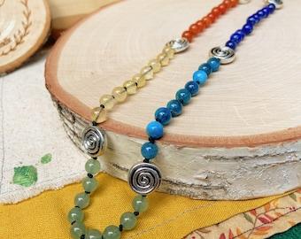 Rainbow Crystal Beaded Necklace - Red Carnelian, Orange Aventurine, Citrine, Green Aventurine, Apatite, Lapis, Amethyst, Hematite and Pewter
