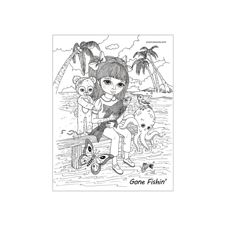 Coloring Page Instant Download  Gone Fishin' by Ana image 0