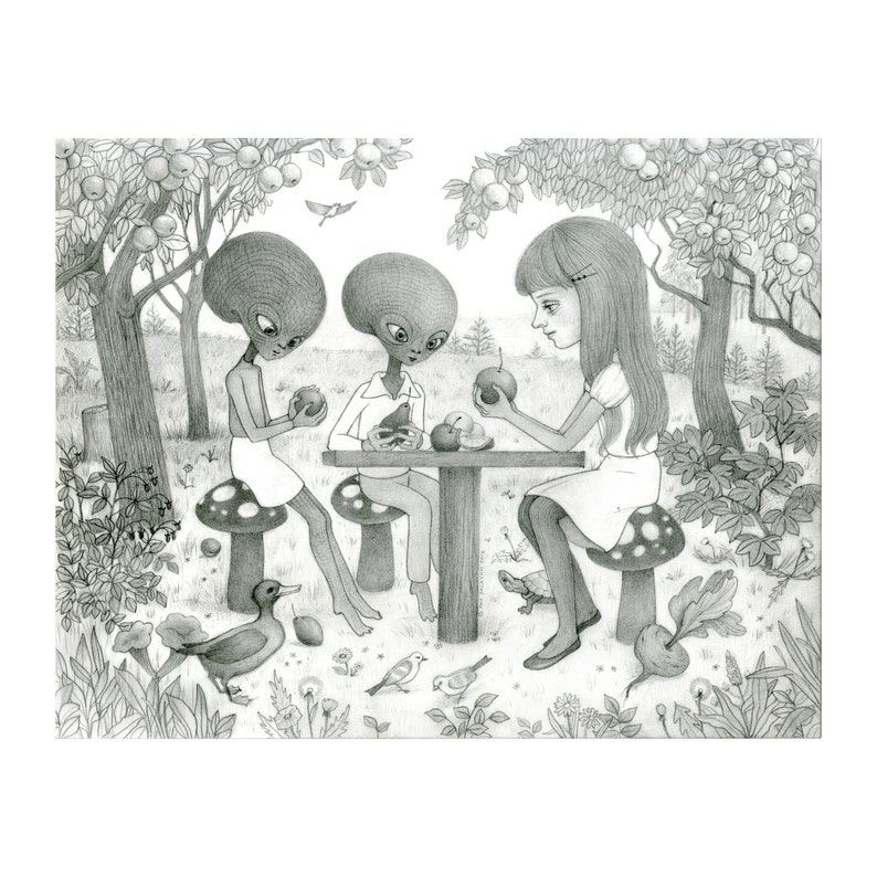 The Orchard  Graphite Drawing by Ana Bagayan image 0