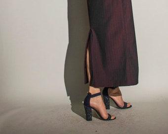 vintage 90s Laura Ashley burgundy bordeaux wool pinstripe column tailored suit maxi skirt UK10 EUR38