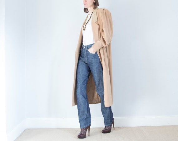 vintage 1950s cashmere wool oversized camel coat … - image 2
