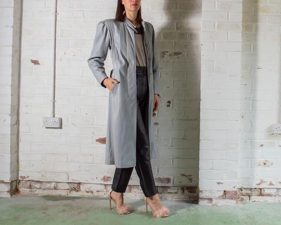 vintage 1970s long grey leather trench coat UK10 … - image 4